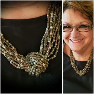 "19"" fall color necklace brown green earth tones"
